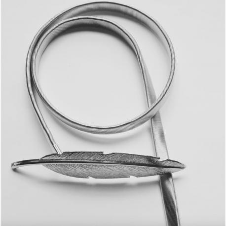 Cinturón Pluma plateada