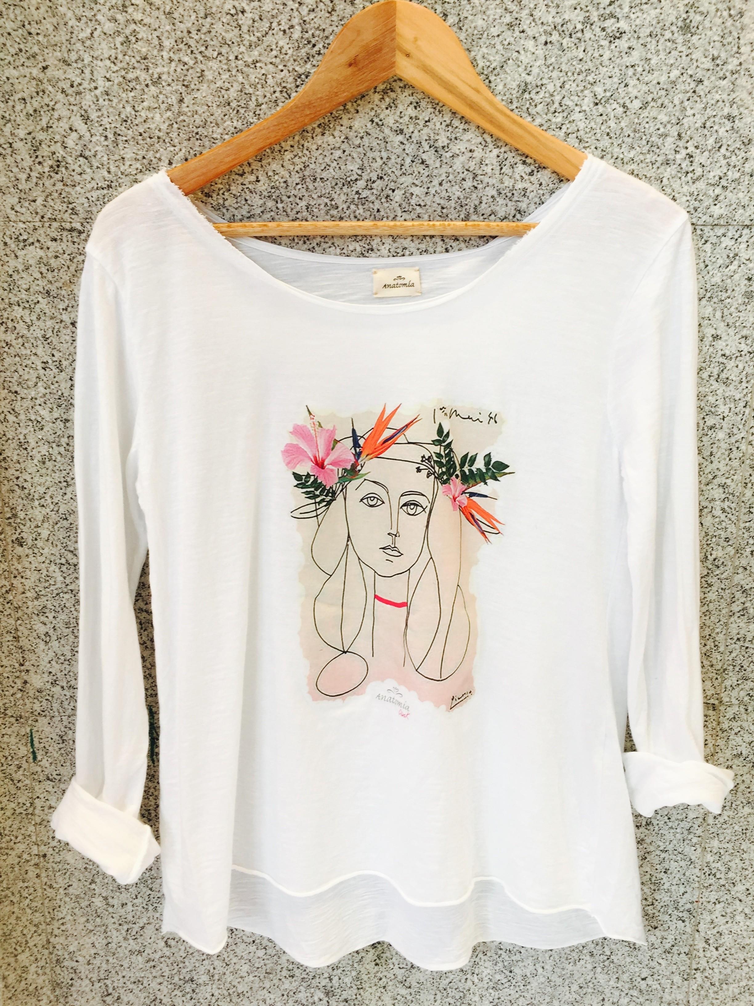 camiseta estampada blanca de algodón mujer de picasso arty arte