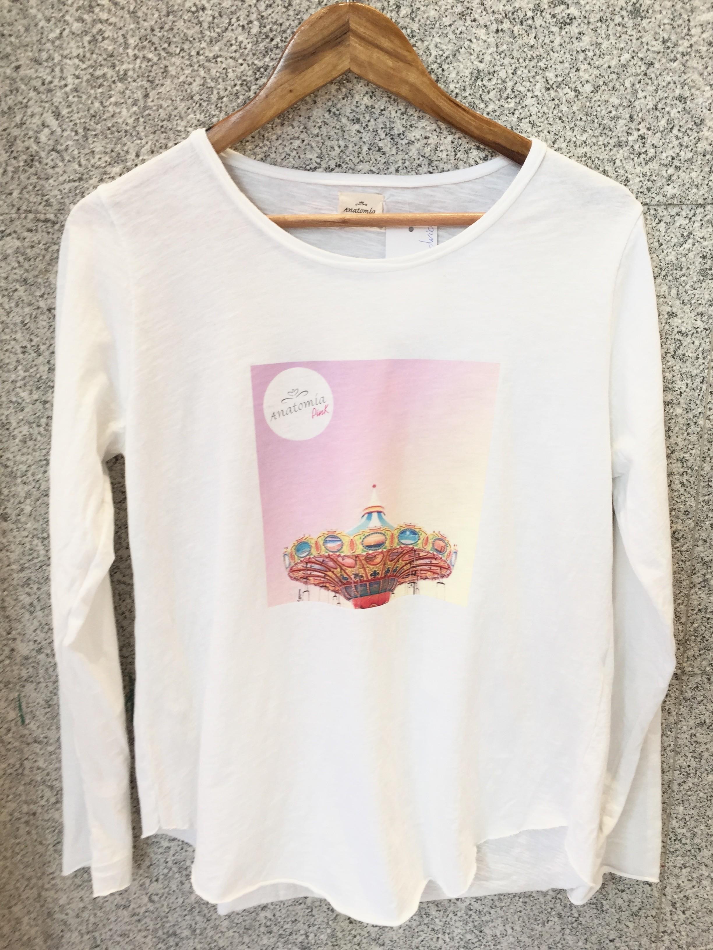 camiseta estampada blanca de algodón mujer carrusel colores